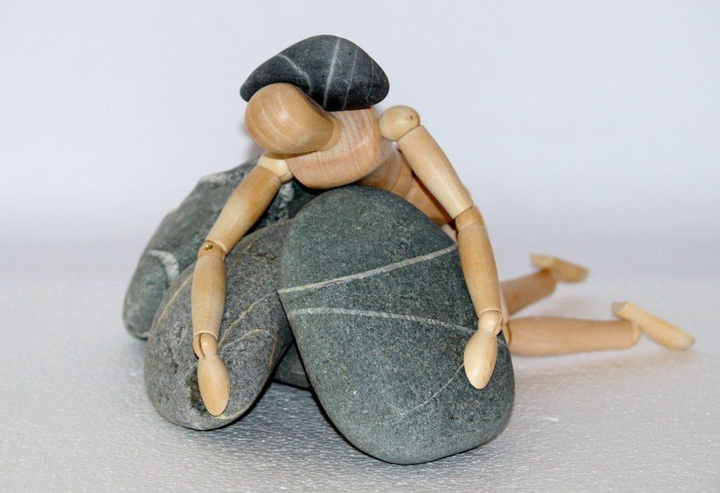 holzfigur, stones, life struggle