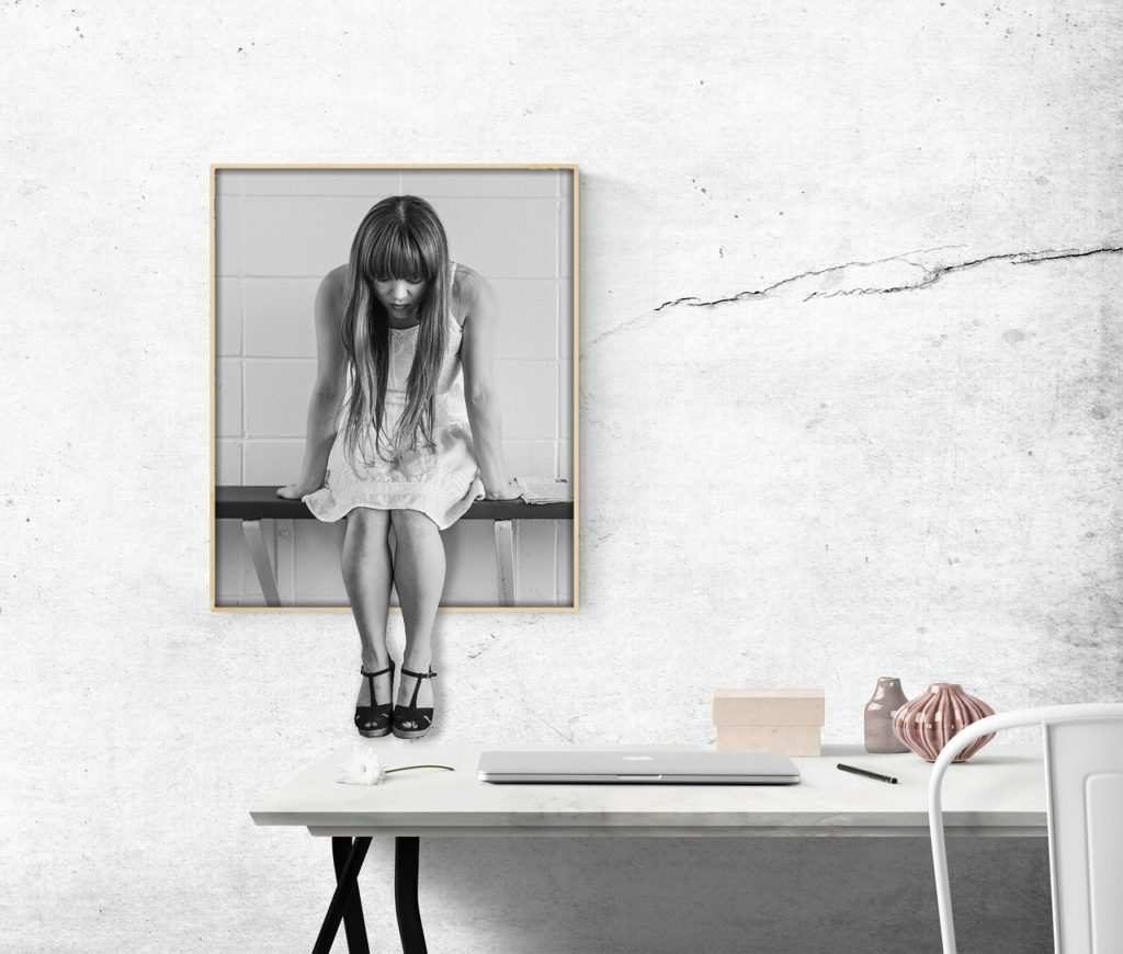 image, desk, woman