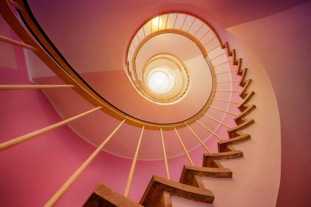 stairs, spiral, stair step