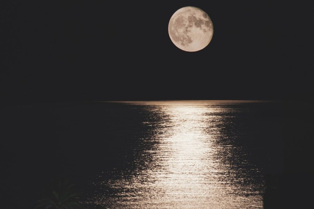 night, moon, sea
