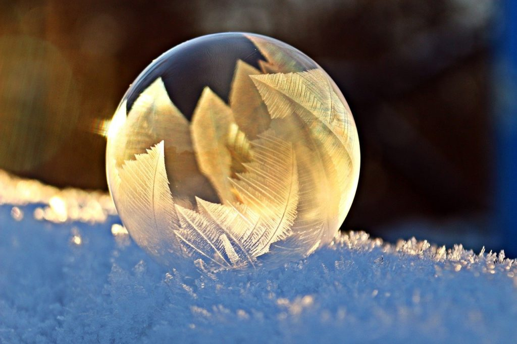 soap bubble, frost, snow
